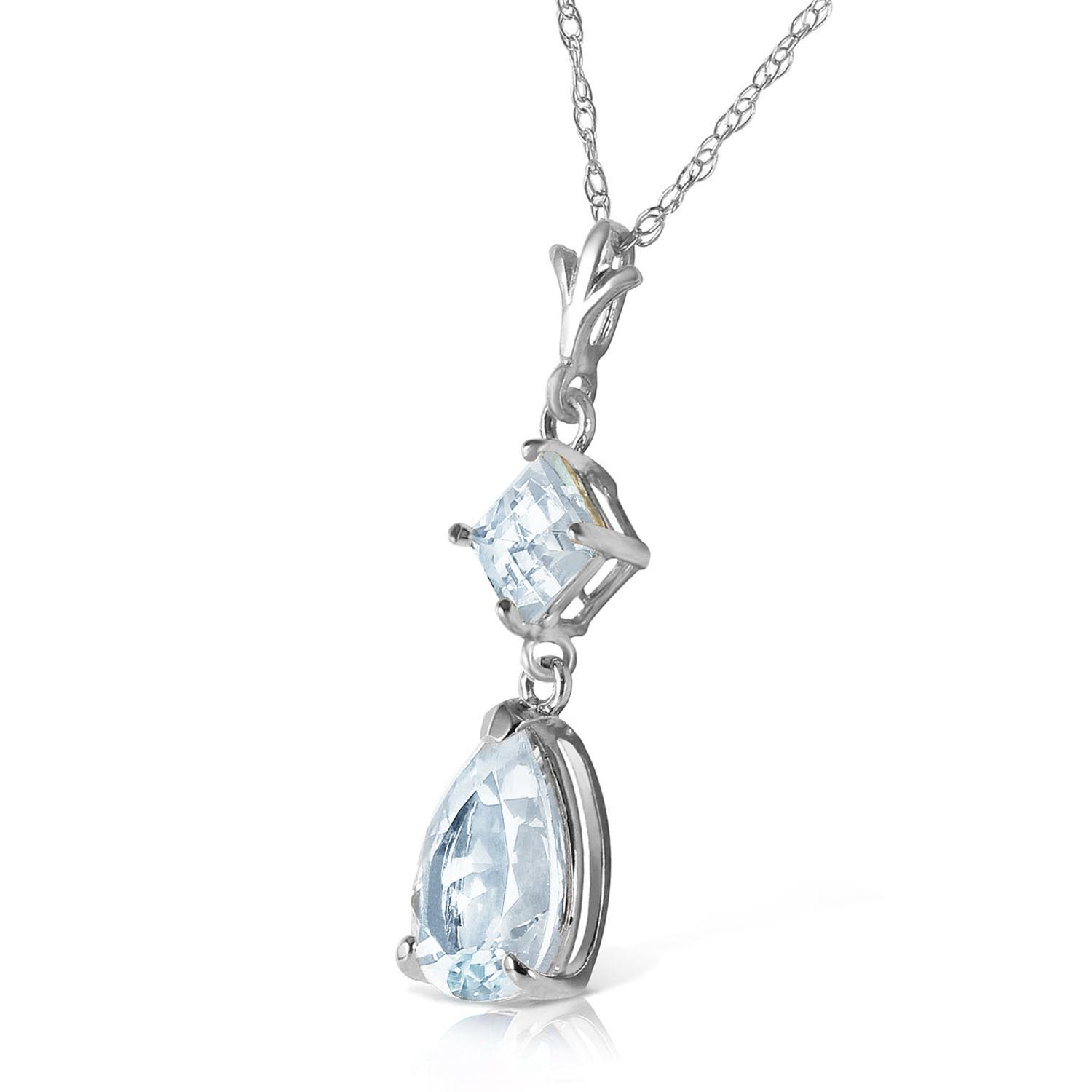 Aquamarine Droplet Pendant Necklace 2.0ctw in 9ct White Gold