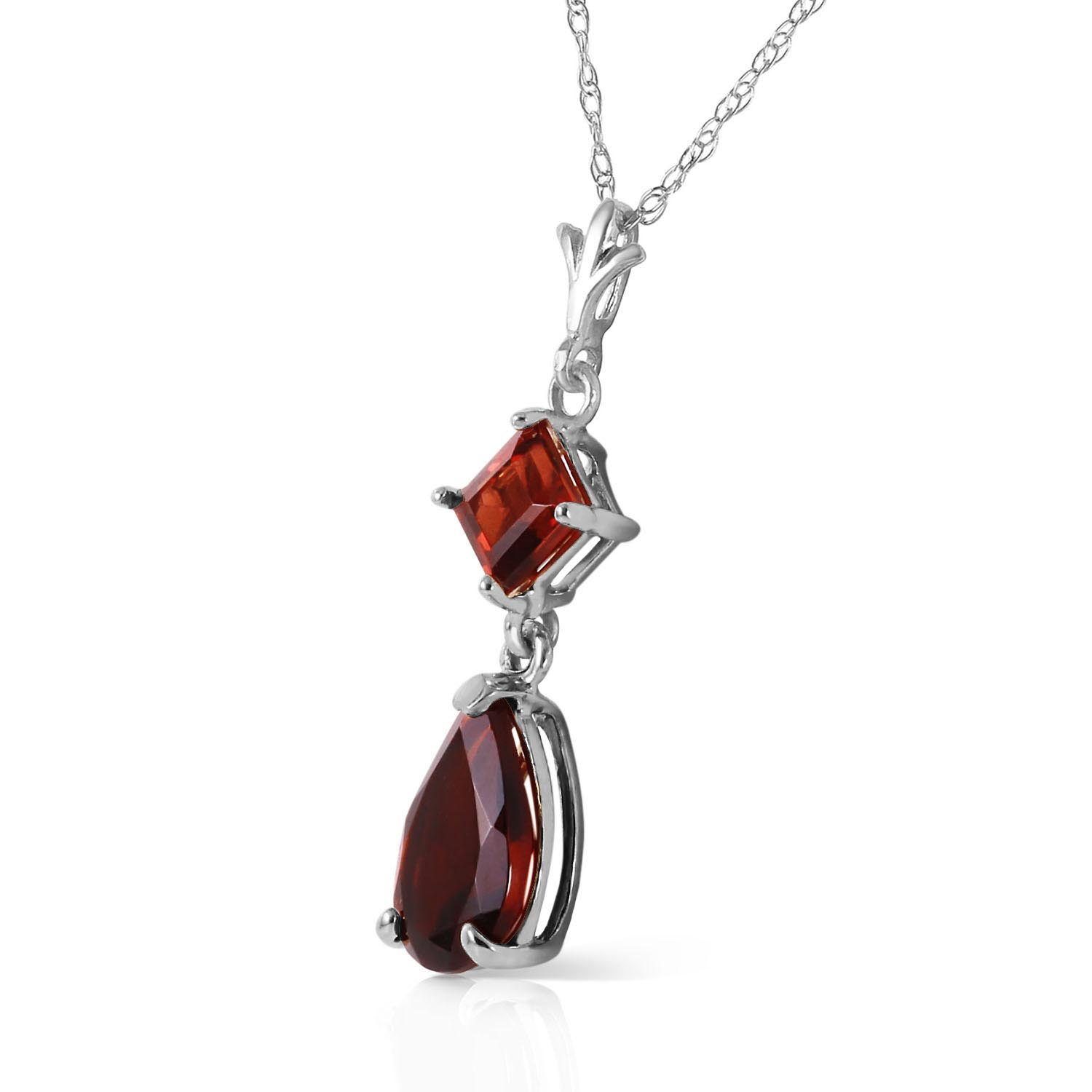 Garnet Droplet Pendant Necklace 2.0ctw in 9ct White Gold