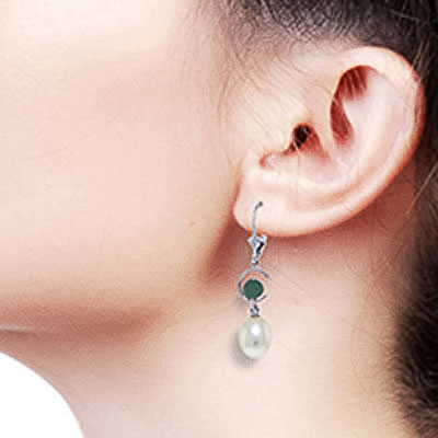 Pearl and Emerald Drop Earrings 9.0ctw in 14K White Gold