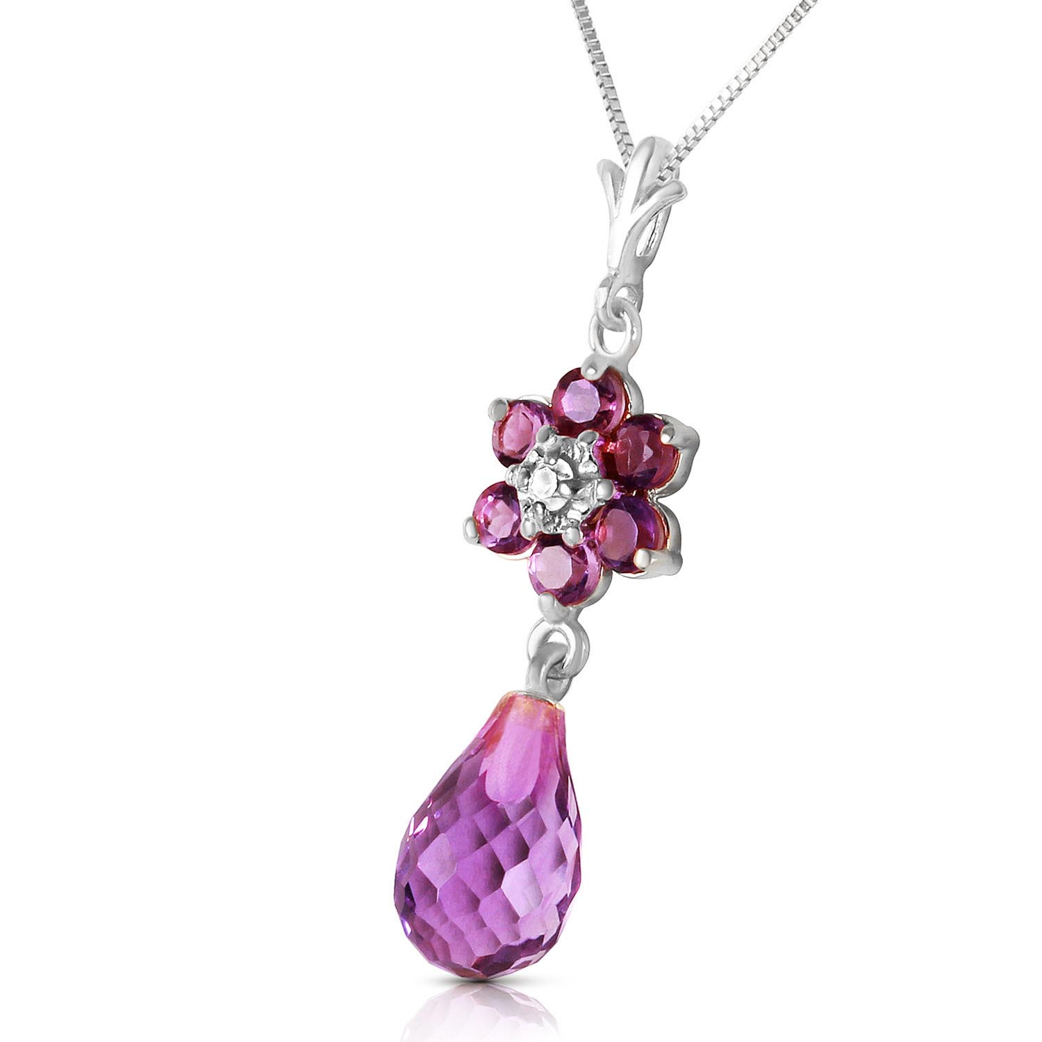 Amethyst and Diamond Flower Pendant Necklace 2.75ctw in 9ct White Gold