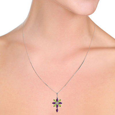 Amethyst, Diamond and Peridot Flower Cross Pendant Necklace 1.98ctw in 9ct White Gold