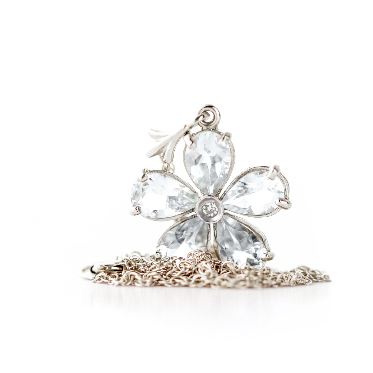Aquamarine and Diamond Flower Petal Pendant Necklace 2.2ctw in 9ct White Gold