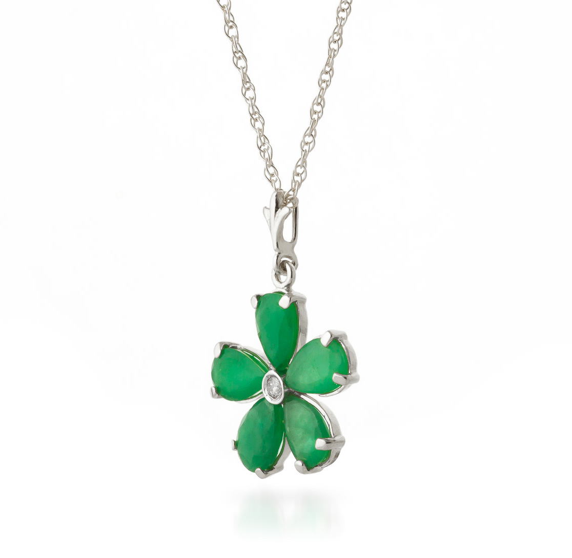 Emerald and Diamond Flower Petal Pendant Necklace 2.2ctw in 9ct White Gold