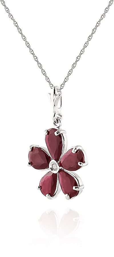 Ruby and Diamond Flower Petal Pendant Necklace 2.2ctw in 9ct White Gold