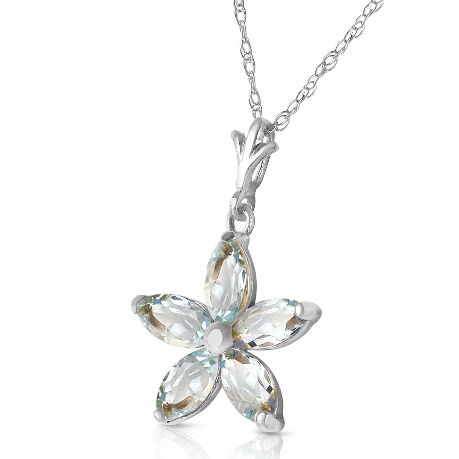 Aquamarine Flower Star Pendant Necklace 1.4ctw in 9ct White Gold