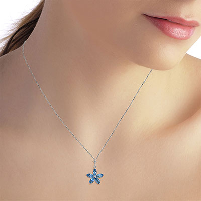 Blue Topaz Flower Star Pendant Necklace 1.4ctw in 14K White Gold