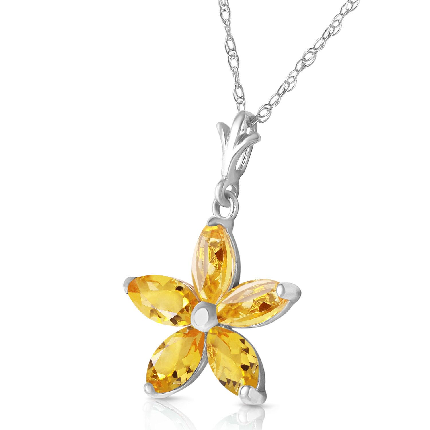 Citrine Flower Star Pendant Necklace 1.4ctw in 9ct White Gold
