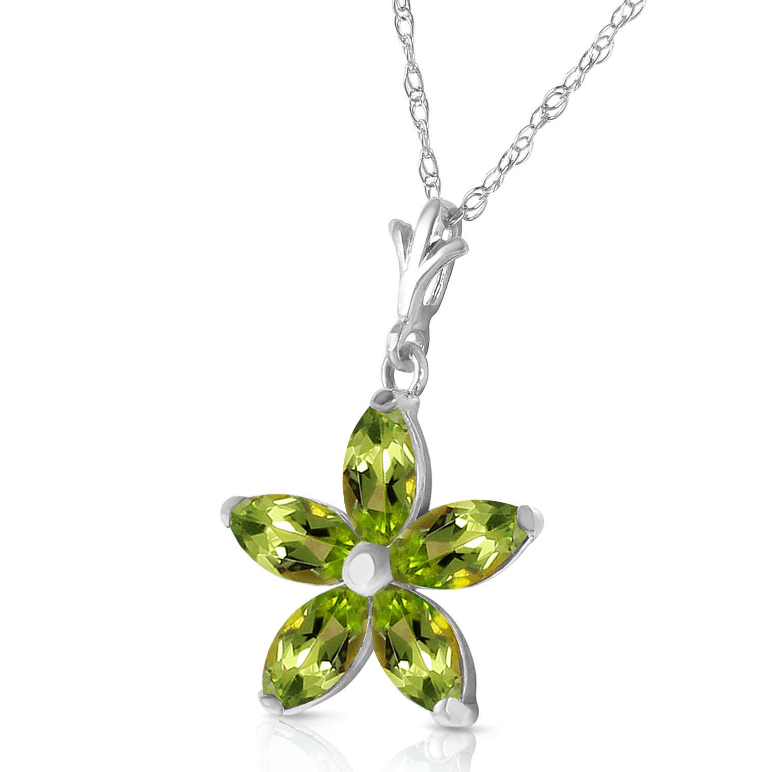 Peridot Flower Star Pendant Necklace 1.4ctw in 9ct White Gold