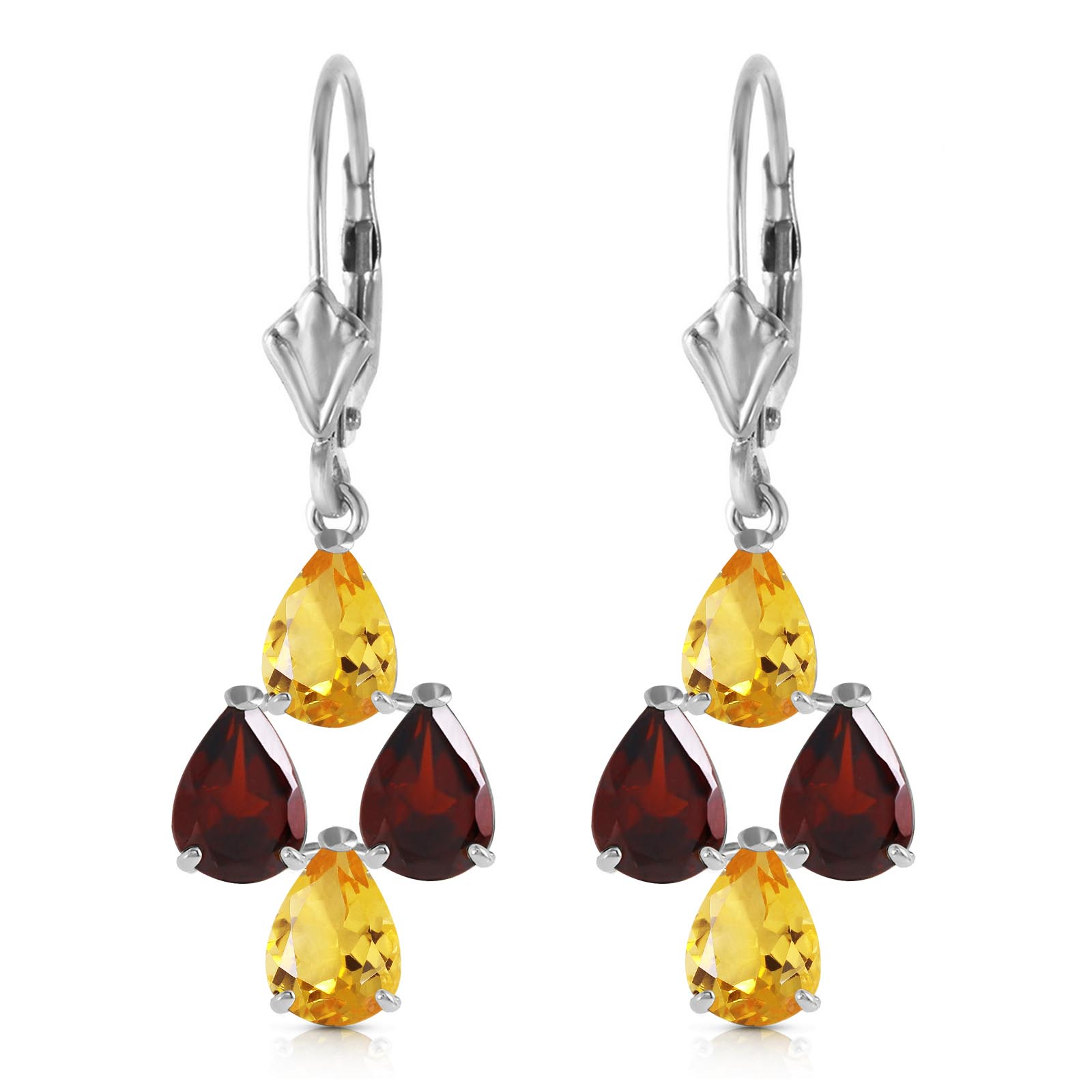 Citrine and Garnet Drop Earrings 3.9ctw in 9ct White Gold