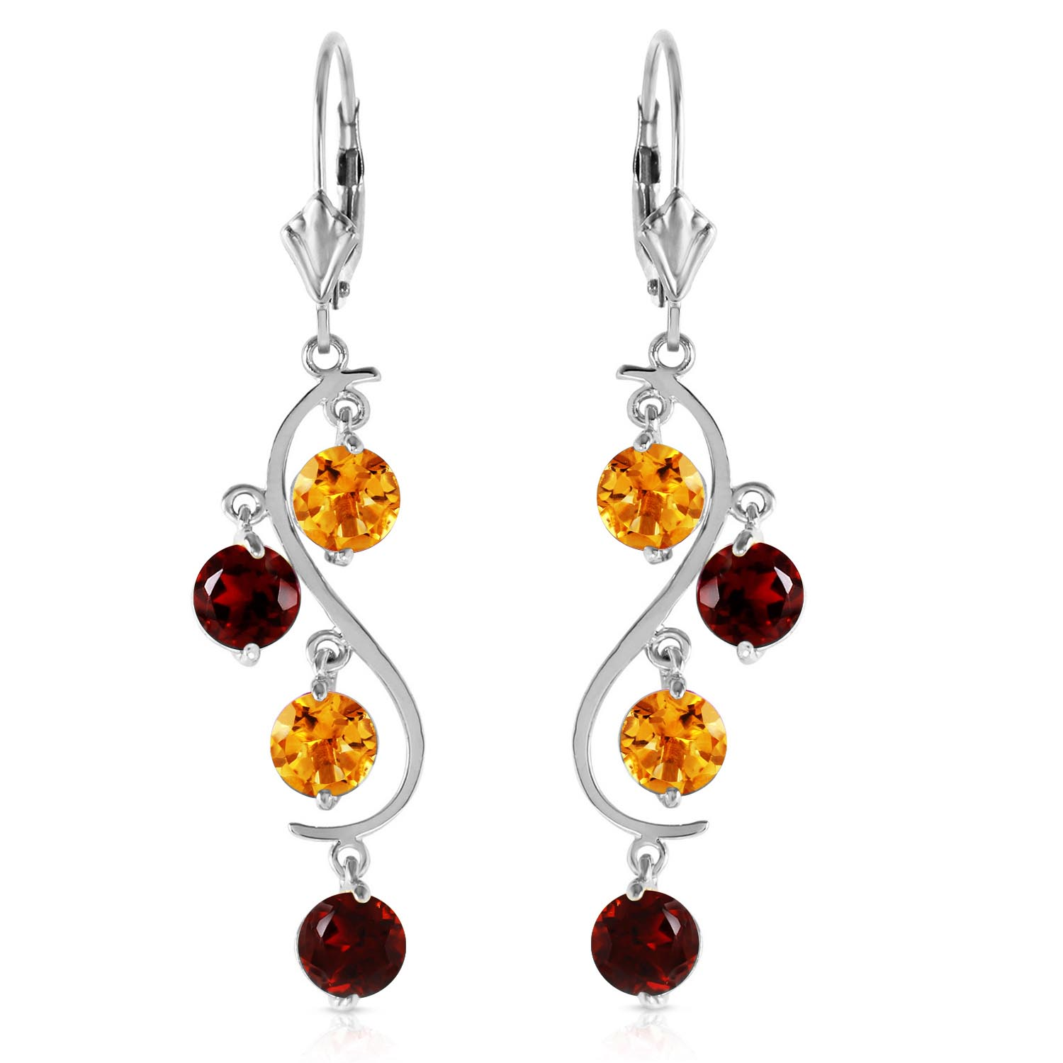 Citrine and Garnet Dream Catcher Drop Earrings 4.6ctw in 9ct White Gold