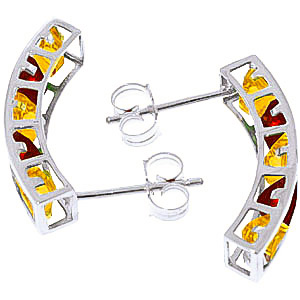 Citrine and Garnet Channel Set Stud Earrings 4.5ctw in 14K White Gold