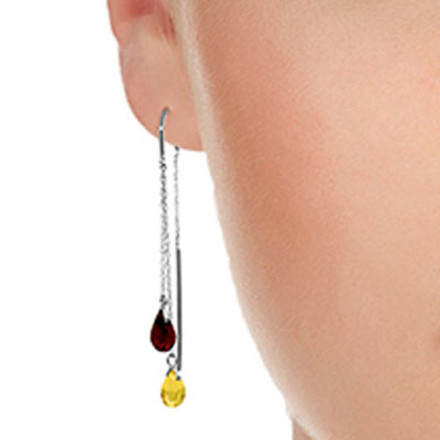 Citrine and Garnet Scintilla Earrings 2.5ctw in 9ct White Gold