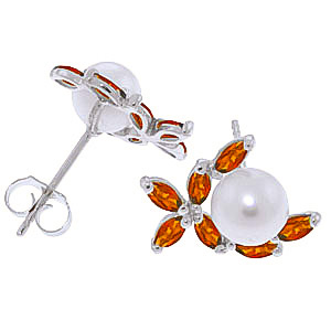 Pearl and Garnet Ivy Stud Earrings 3.25ctw in 9ct White Gold