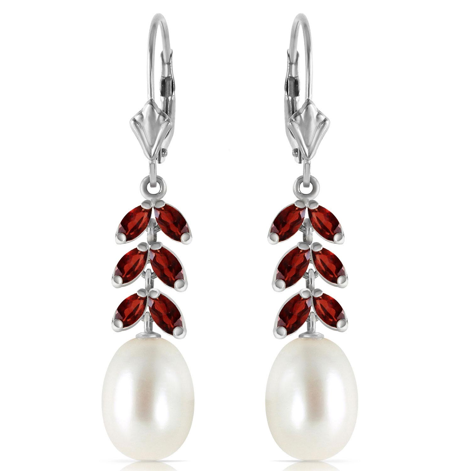 Pearl and Garnet Drop Earrings 9.2ctw in 9ct White Gold