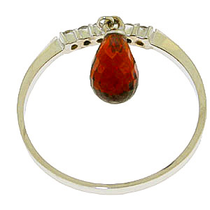 Diamond and Garnet Ring in 9ct White Gold