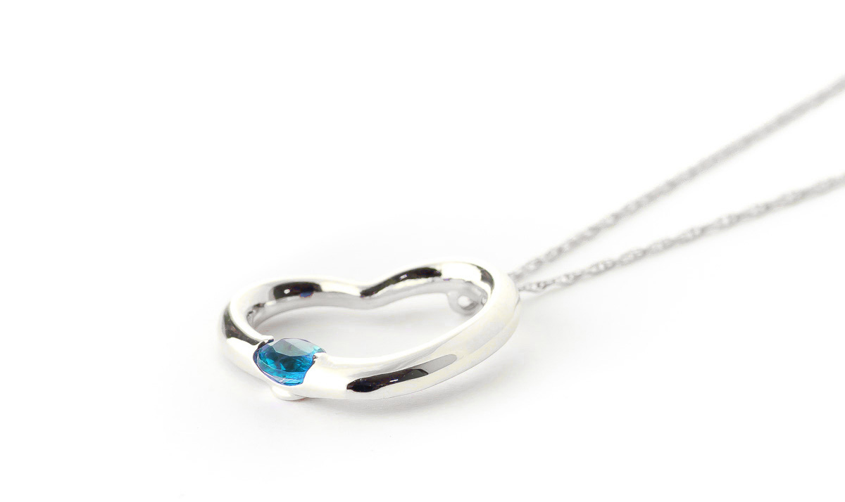 Round Brilliant Cut Blue Topaz Pendant Necklace 0.25ct in 14K White Gold