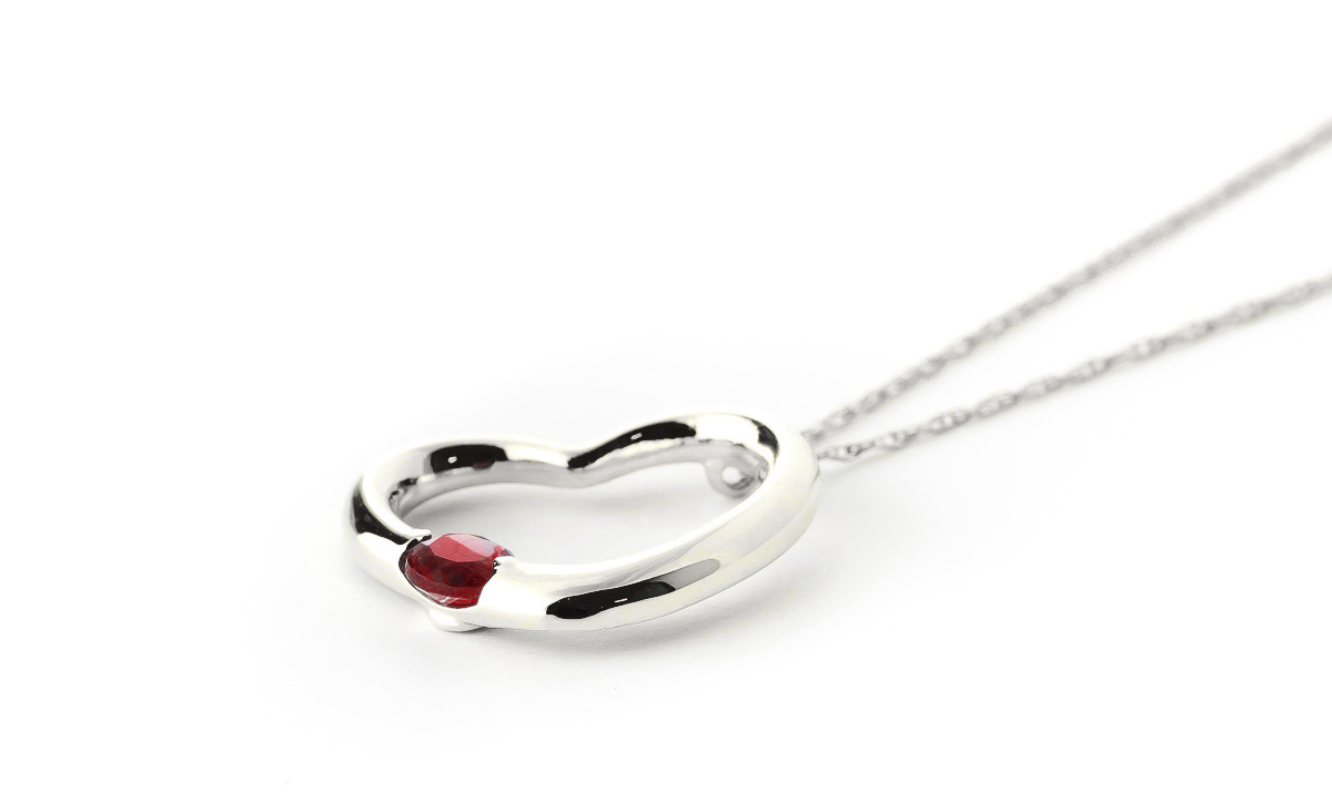 Round Brilliant Cut Garnet Pendant Necklace 0.25ct in 9ct White Gold