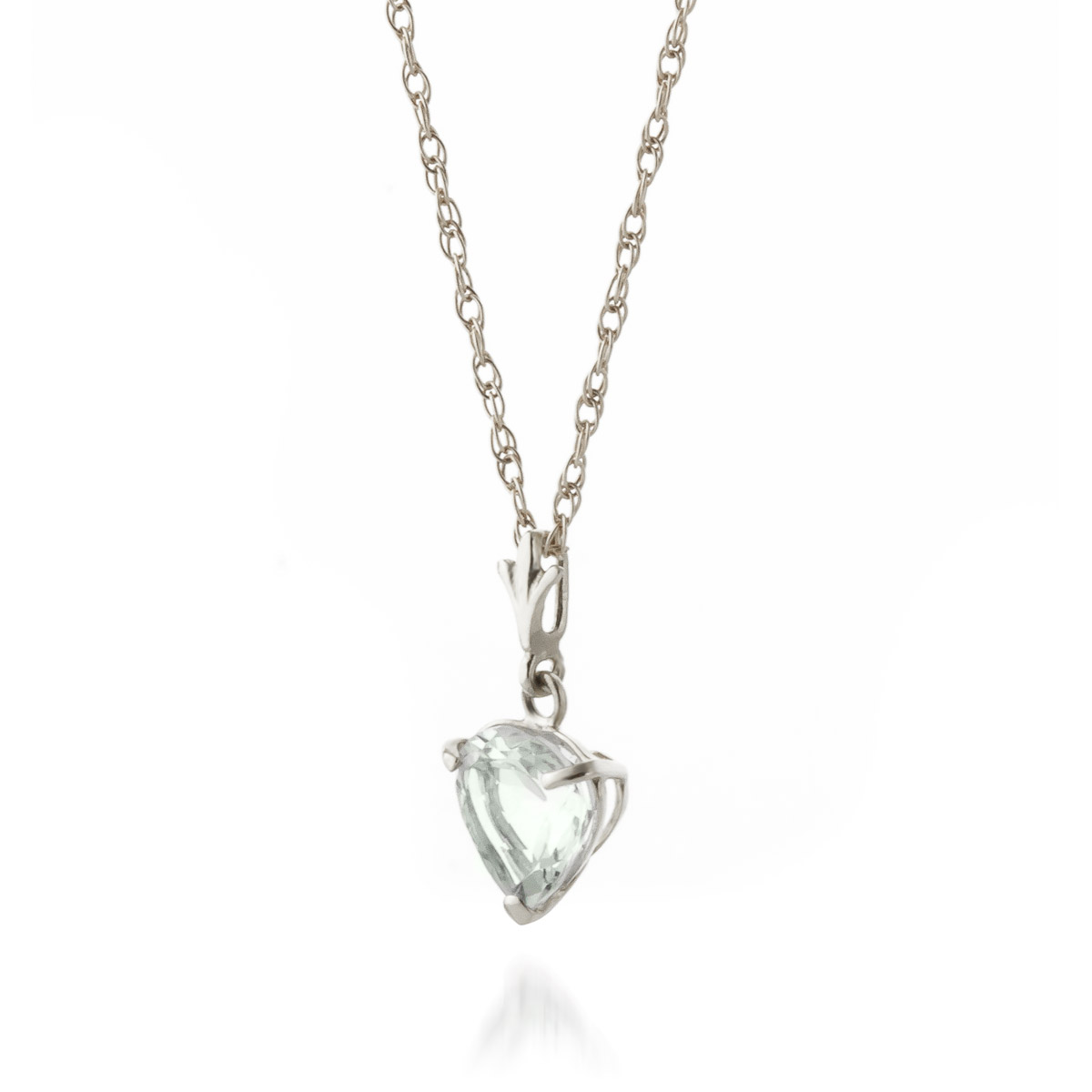 Aquamarine Heart Pendant Necklace 1.15ct in 9ct White Gold