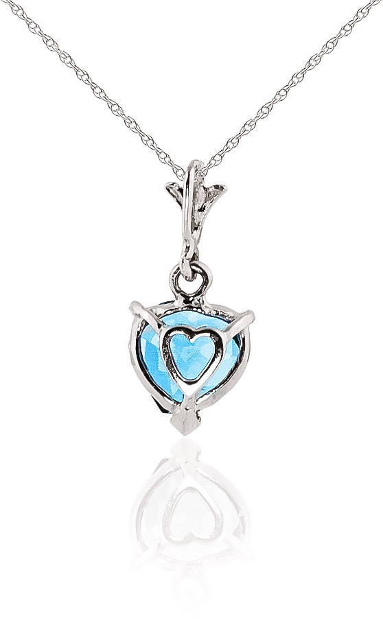 Blue Topaz Heart Pendant Necklace 1.15ct in 9ct White Gold