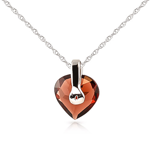 Garnet Heart Pendant Necklace 1.15ct in 9ct White Gold
