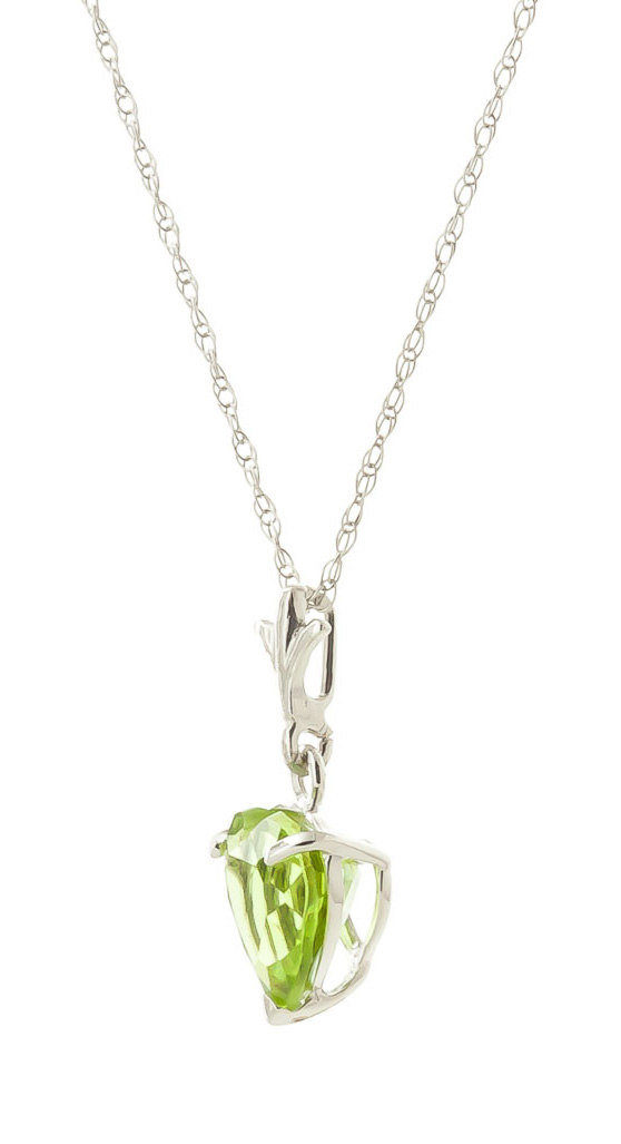 Peridot Heart Pendant Necklace 1.15ct in 9ct White Gold
