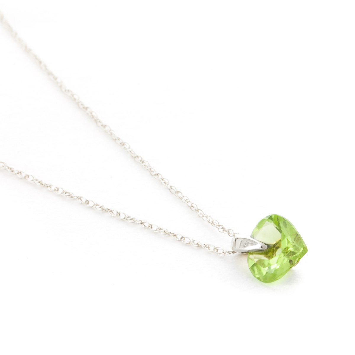 Peridot Heart Pendant Necklace 1.15ct in 14K White Gold