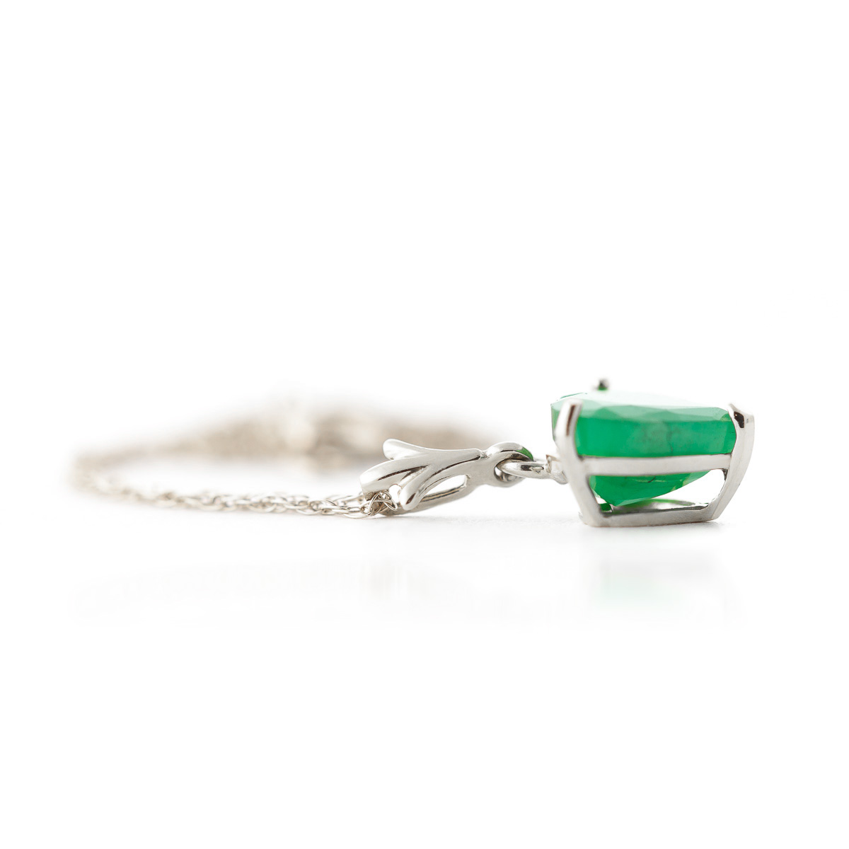 Emerald Heart Pendant Necklace 1.2ct in 14K White Gold