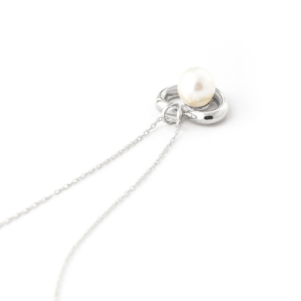 Round Brilliant Cut Pearl Pendant Necklace 2.0ct in 14K White Gold