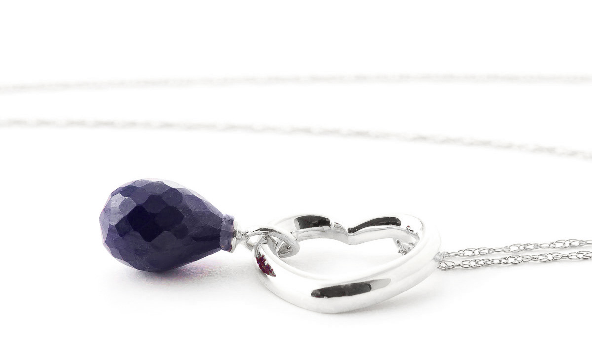 Pear Cut Sapphire Pendant Necklace 3.3ct in 9ct White Gold
