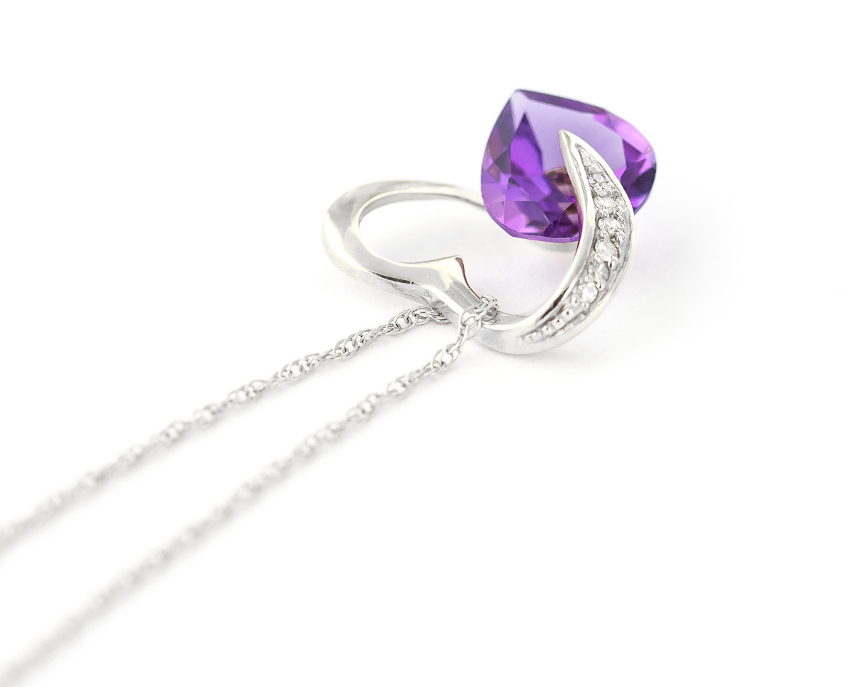 amethyst and diamond pendant necklace 31ct in 9ct white