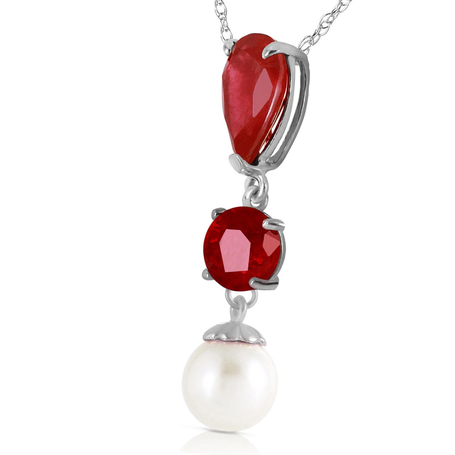Ruby and Pearl Hourglass Pendant Necklace 1.5ct in 14K White Gold