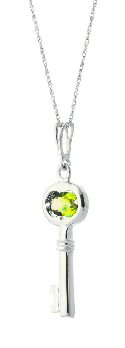 Peridot Key Charm Pendant Necklace 0.5ct in 14K White Gold