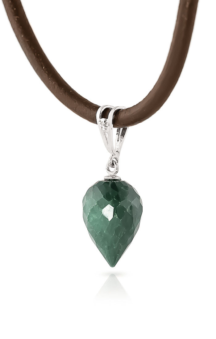 Emerald and Diamond Leather Pendant Necklace 13.0ct in 14K White Gold