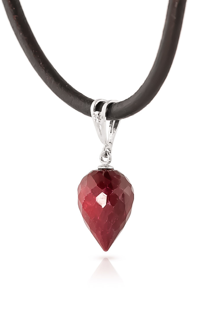 Ruby and Diamond Leather Pendant Necklace 13.0ct in 9ct White Gold