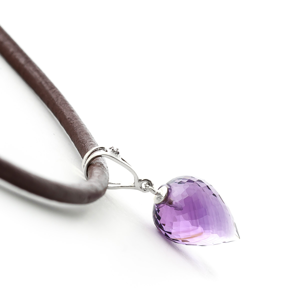Amethyst and Diamond Leather Pendant Necklace 9.5ct in 14K White Gold