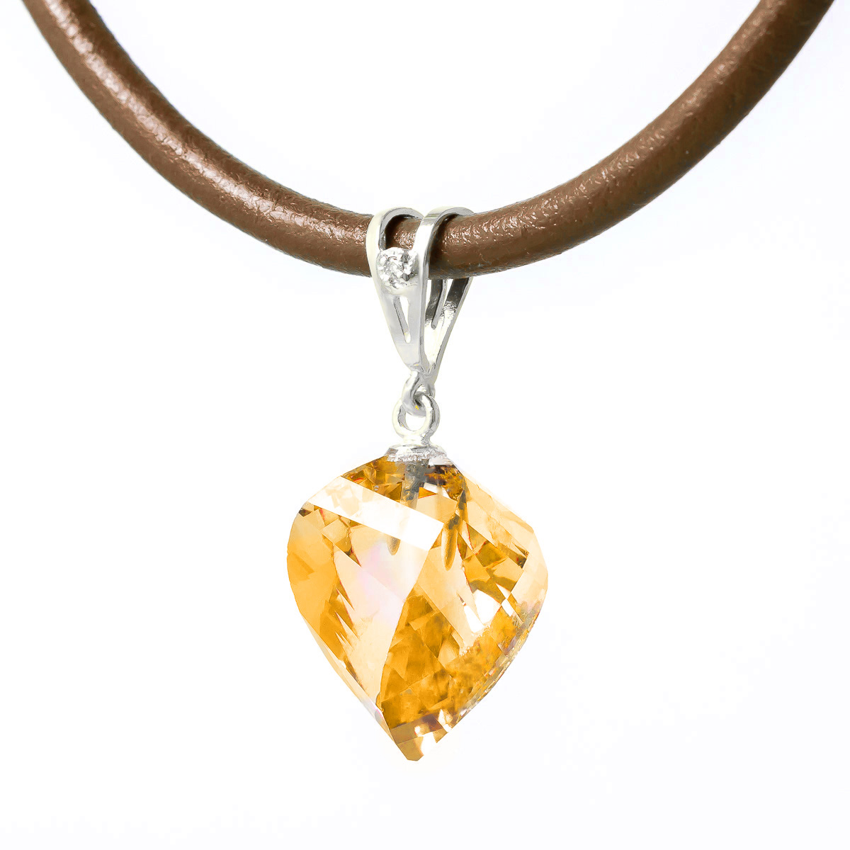 Citrine and Diamond Pendant Necklace 11.75ct in 9ct White Gold