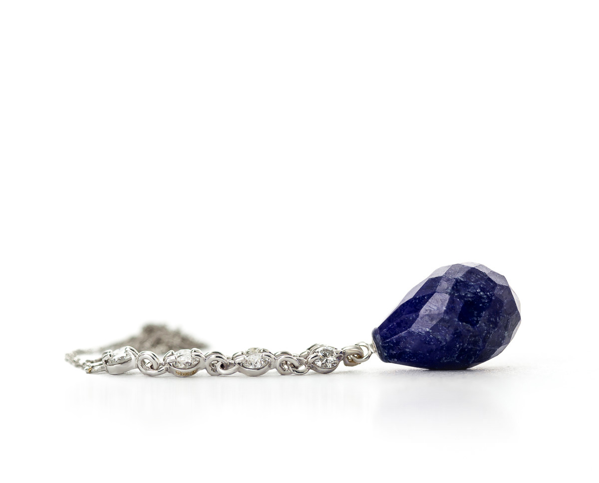 Sapphire and Diamond Pendant Necklace 14.8ct in 9ct White Gold