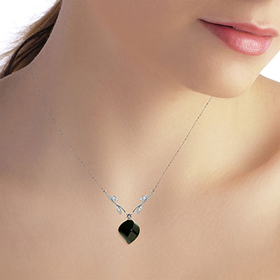 Black Spinel and Diamond Pendant Necklace 15.5ct in 14K White Gold