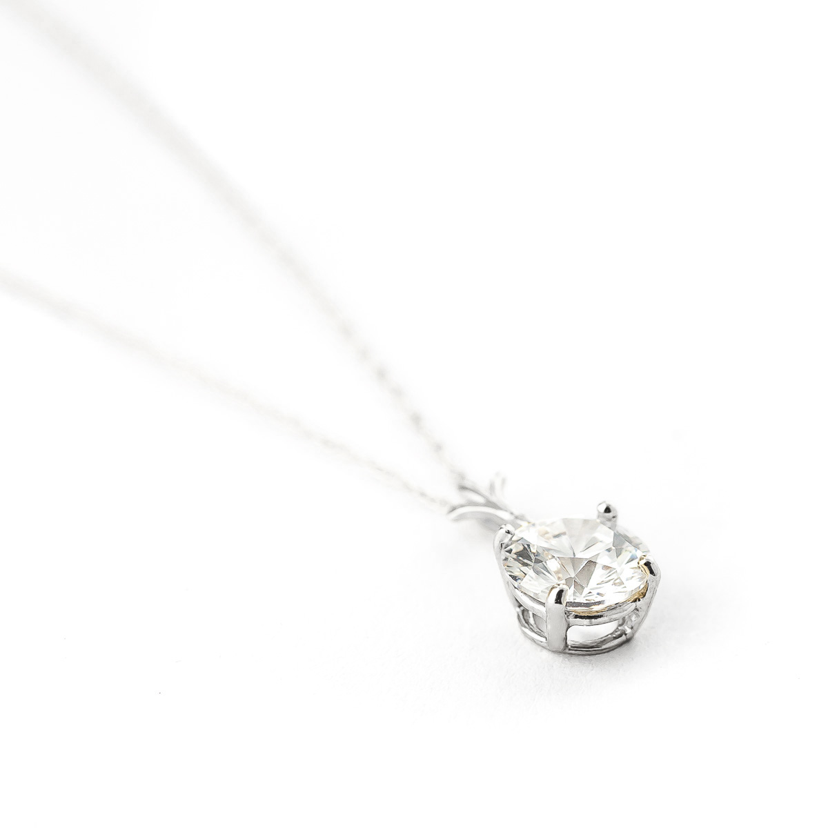 Round Brilliant Cut Cubic Zirconia Pendant Necklace 2.38ct in 9ct White Gold