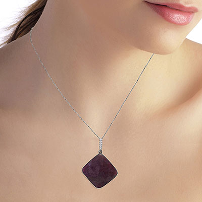 Ruby and Diamond Pendant Necklace 20.25ct in 14K White Gold