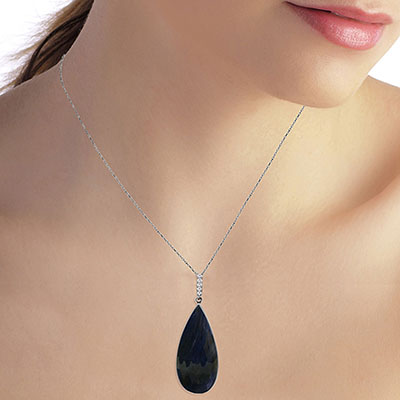 Sapphire and Diamond Pendant Necklace 21.0ct in 14K White Gold