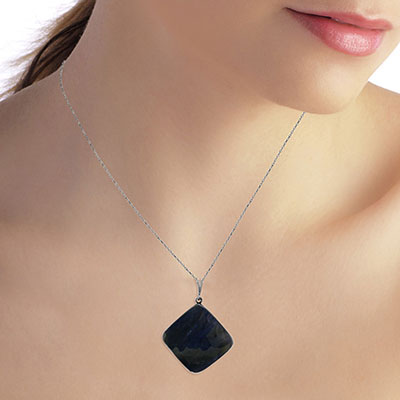 Square Cut Sapphire Pendant Necklace 21.75ctw in 14K White Gold