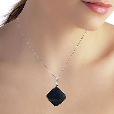 Sapphire and Diamond Pendant Necklace 21.75ct in 14K White Gold