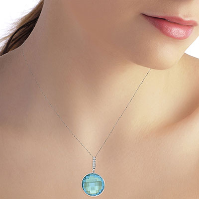 Blue Topaz and Diamond Pendant Necklace 23.0ct in 9ct White Gold