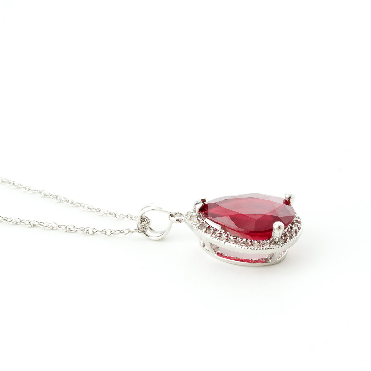 Ruby and Diamond Halo Pendant Necklace 5.35ct in 9ct White Gold