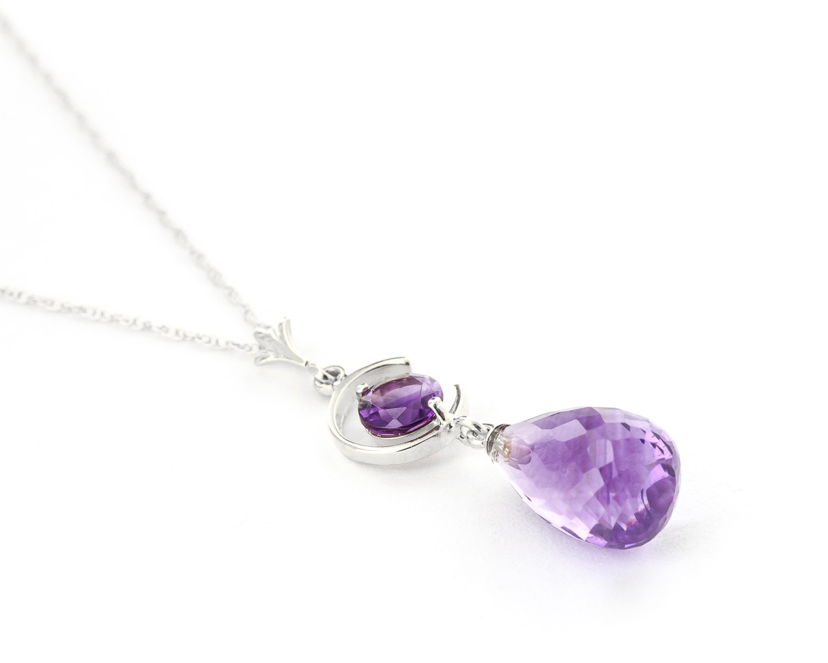 Amethyst Briolette Pendant Necklace 5.5ctw in 9ct White Gold