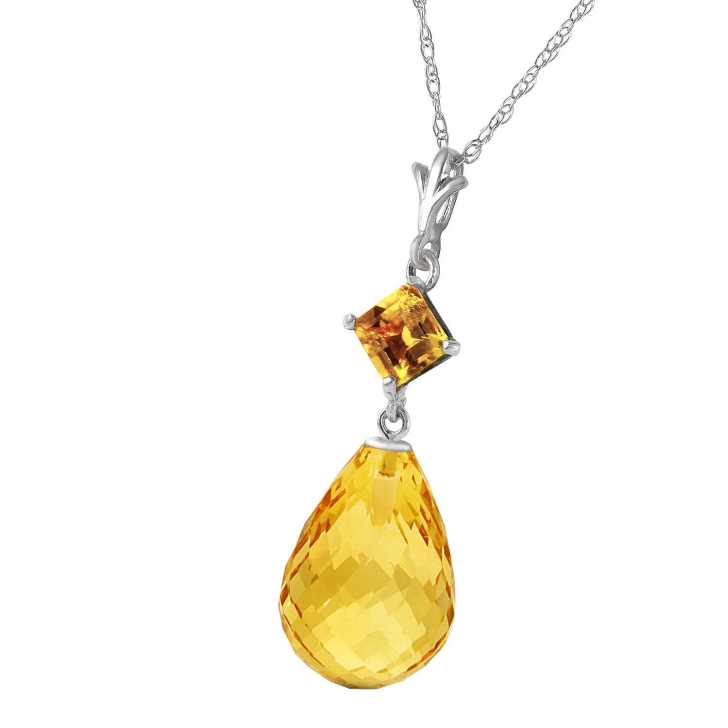 Citrine Briolette Pendant Necklace 5.5ctw in 9ct White Gold