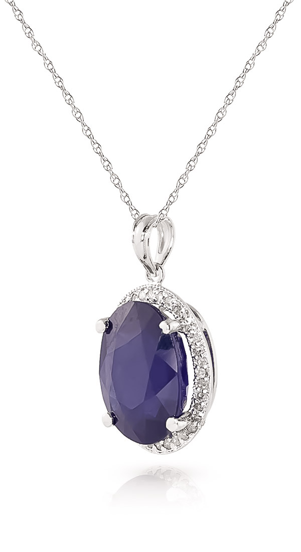 Sapphire and Diamond Halo Pendant Necklace 6.4ct in 9ct White Gold