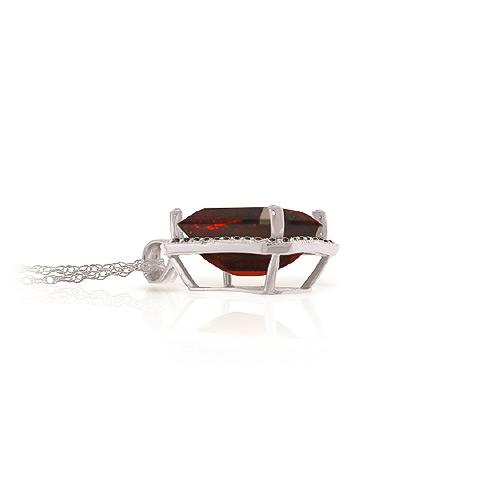 Garnet and Diamond Halo Pendant Necklace 7.5ct in 14K White Gold