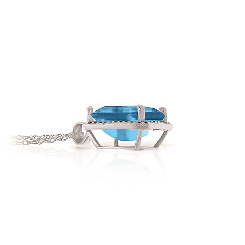 Blue Topaz and Diamond Halo Pendant Necklace 7.6ct in 9ct White Gold